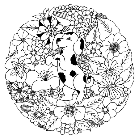 dalmatian puppy: illustration puppy a dalmatian among the flowers. Coloring Book, anti-stress for adults. Black and white.
