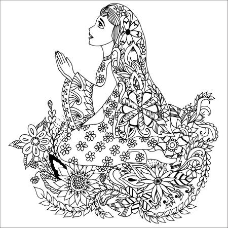 kneeling girl zentangl girl kneeling in flowers coloring book anti stress for adults