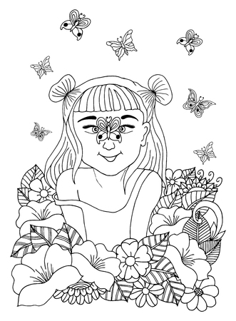 The child in flowers on the nose to which sat down of butterfly. Book Coloring anti-stress for adults and children. Иллюстрация