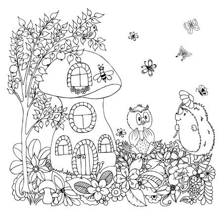 Vektorillustrationen Igel mit einer Eule unter den Blumen in der Pilz-Hütte. Arbeit von Hand erledigt. Malbuch Anti-Stress für Erwachsene und Kinder. Schwarz und weiß. Standard-Bild - 72533037