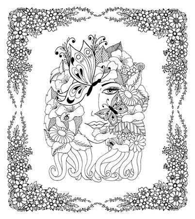 Vector illustration portrait of a girl with butterflies in the frame from flowers. Work Made by hand. Book Coloring anti-stress for adults and children. Black and white. Illustration