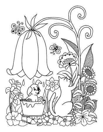Chiot d'illustration vectorielle baigne sous une cloche parmi les fleurs. Travail fait à la main. Livre à colorier anti-stress pour adultes et enfants. Noir et blanc. Banque d'images - 72533178