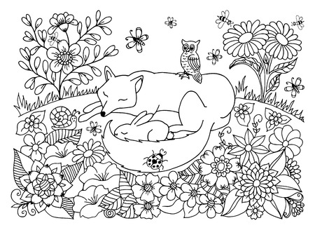 peacefully: Vector illustration peacefully asleep chanterelle and hare among the flowers. Work done by hand. Book Coloring anti-stress for adults and children. Black and white.