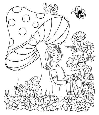 clearing: Vector art illustration a child in a clearing resting under fungus. Work done by hand. Book Coloring anti-stress for adults and children. Black and white.