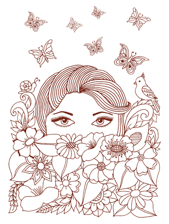 Girl peeps out from under the flowers. Work done by hand. Book Coloring anti-stress for adults and children.Brown and white.