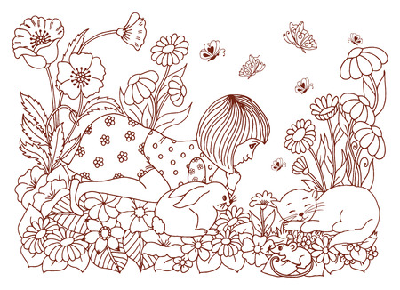 ink drawing: Vector illustration of a thick and furry cat surrounded by flowers. Illustration