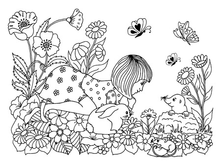 clearing: Vector illustration of a girl with a hare on a clearing watching the mole.