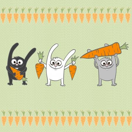 zanahoria caricatura: Dise�o vectorial Patr�n sin fisuras con los conejos y zanahorias