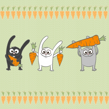 grass cartoon: Vector design Seamless pattern with rabbits and carrots