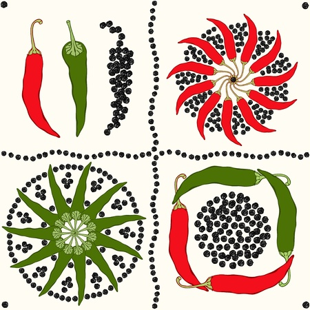 Seamless different types of pepper  Vector Illustration Vector