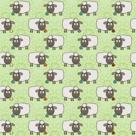 Seamless pattern with sheep Background with different textures, vector illustration  Vector
