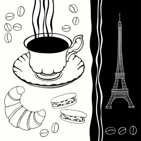 マカロン: エッフェル塔や伝統的な朝食黒と白の背景の背景