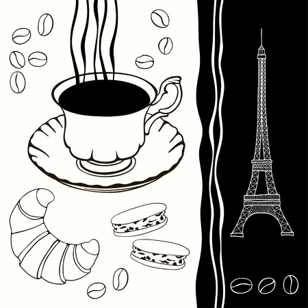 Background  of eiffel tower and traditional breakfast Black-and-white background  Иллюстрация