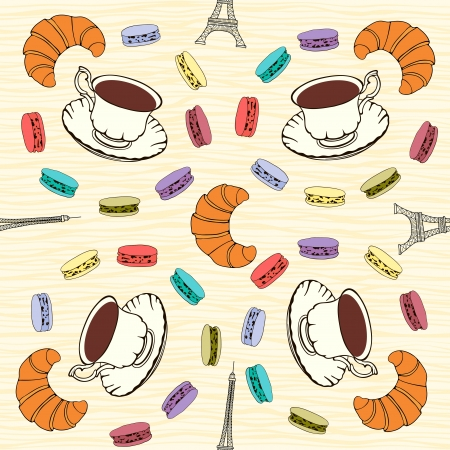 meringue: Seamless pattern with  French macaroons, croissants and black coffee  Illustration