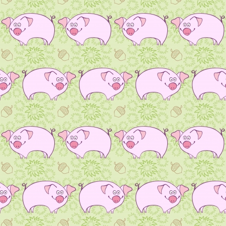 pigling: Pigs  Background illustration Seamless pattern with pigs