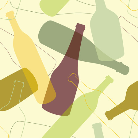 Seamless pattern with colored bottles   Vector