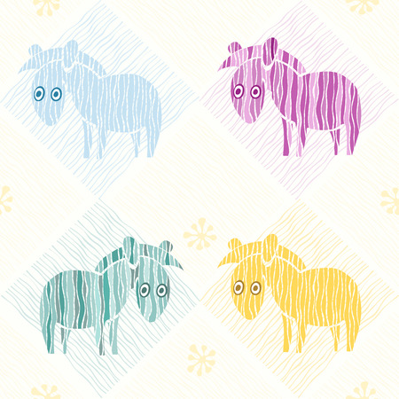 Seamless background with colorful cartoon zebras  Vector
