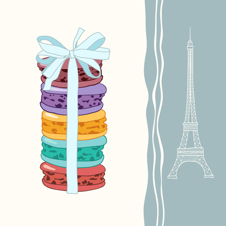 meringue: Vector illustration of the traditional symbols of France  Eiffel Tower, macaroon