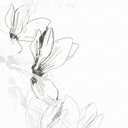 cyclamen: Decorative monochrome floral background with cyclamen  Can be used as an invitation, greeting card or a design element  Illustration