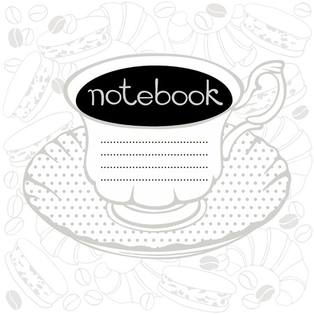 Cover for a notebook with a cup of coffee, macaroon, croissants and coffee beans  Vector