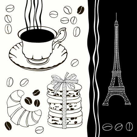Decorative background with Eiffel Tower, croissants, macaroon, coffee  Traditional French breakfast  Vector