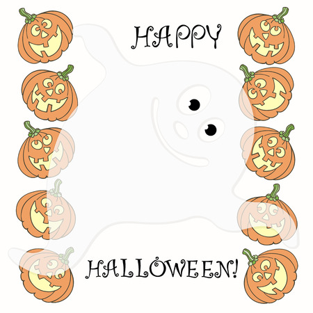 smilling: Invitation or greeting card with Halloween pumpkins and ghost