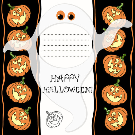 Invitation or greeting card with Halloween pumpkins and ghost  Vector
