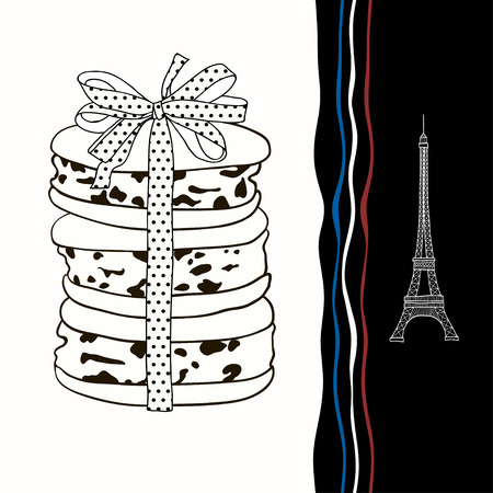 Decorative background with symbols of France  Eiffel Tower, macaroon  Vector
