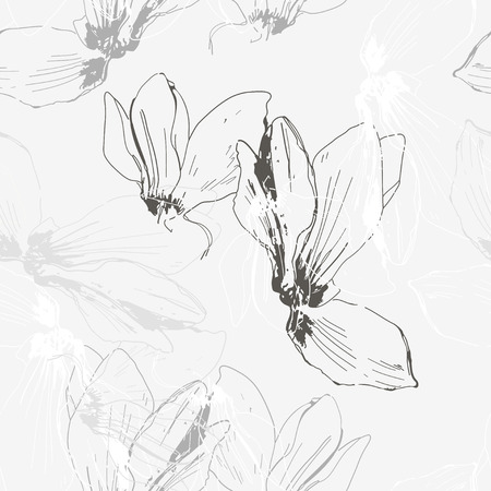 cyclamen: Monochrome seamless floral pattern with cyclamen  Illustration