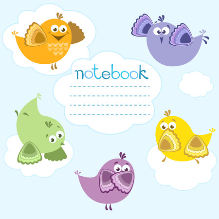 Cover for notebook with colorful birds and clouds  Vector