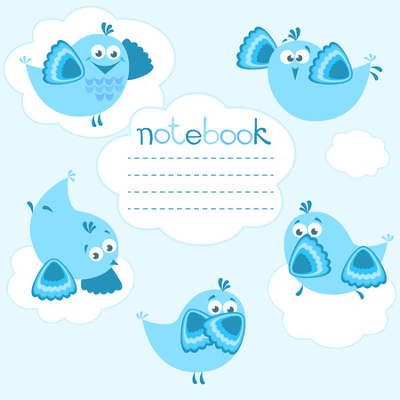 notebook cover: Cover for notebook with blue birds and clouds  Illustration