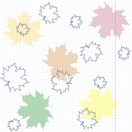 Seamless pattern with maple leaves on the background of notebook sheet  Vector