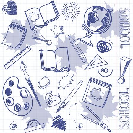 utiles escolares: Patr�n sin fisuras con los �tiles escolares en el fondo de la hoja del cuaderno