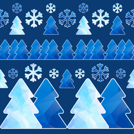 Seamless pattern with fir trees and snowflakes  Can be used New Year or festive Christmas background  Vector