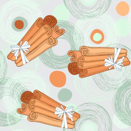 Seamless pattern with cinnamon sticks