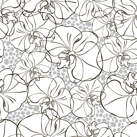 Seamless monochrome pattern with orchids  Vector