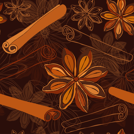 Seamless pattern with star anise and cinnamon sticks