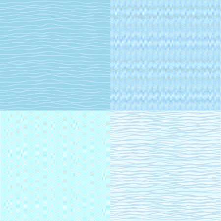 mild: Vector set  Four types seamless pattern with waves  Illustration