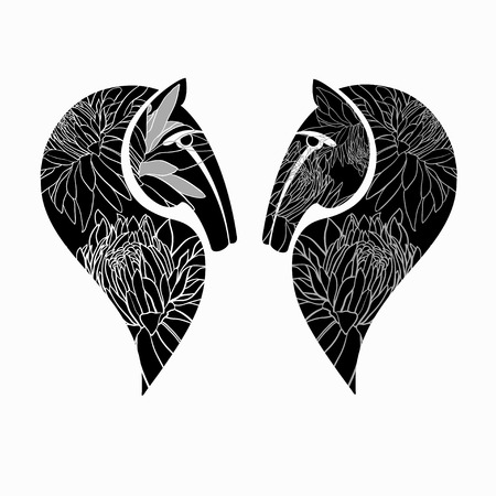 Two horses  heads with floral ornament  Vector