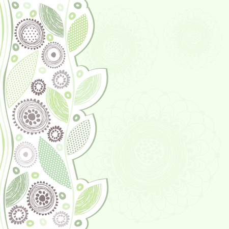 Decorative background with abstract flowers and leaves  Can be used as an invitation or greeting card Vector