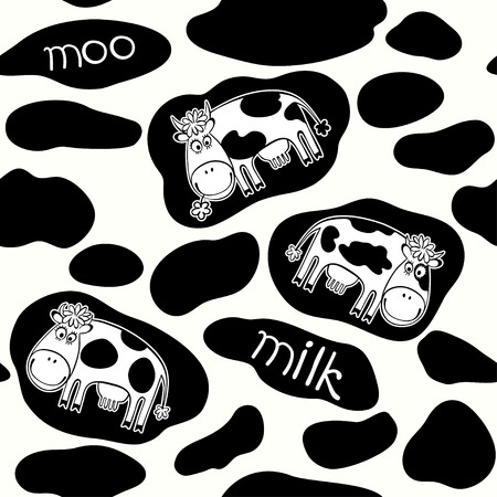 Seamless pattern with cartoon cows  Black and white illustration  Иллюстрация
