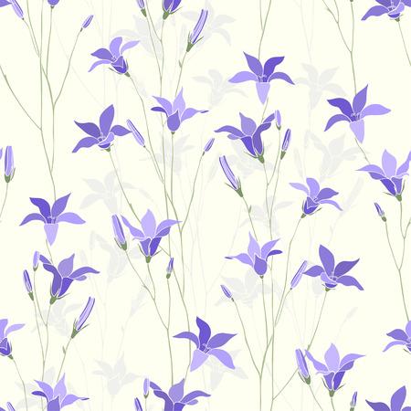 campanula: Seamless floral pattern with campanula