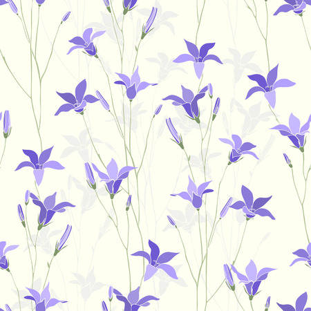 Seamless floral pattern with campanula