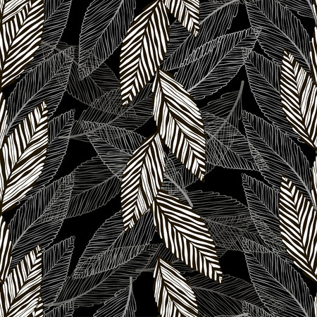 contrasting: Seamless monochrome pattern with abstract leaves