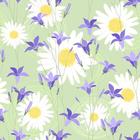 campanula: Seamless floral pattern with camomile and campanula