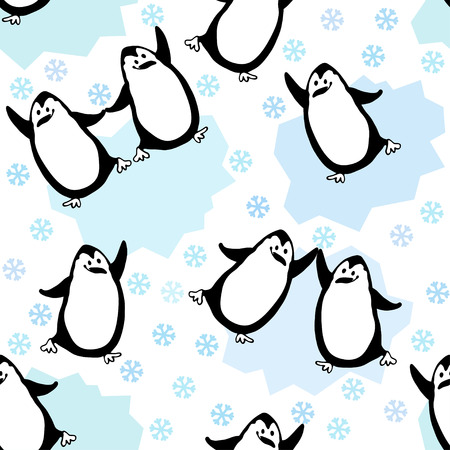 Seamless pattern with cartoon penguins  Kids background Stock Vector - 27444654
