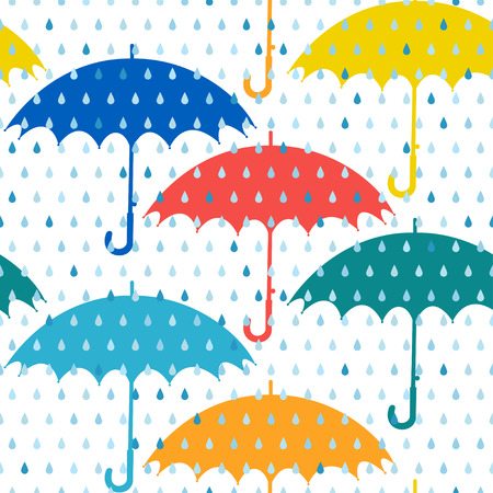 Seamless pattern with colored umbrellas and rain