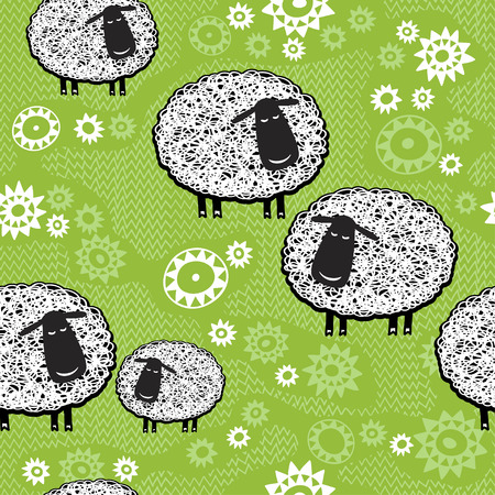 Seamless pattern with cartoon sheep  Kids background Vector