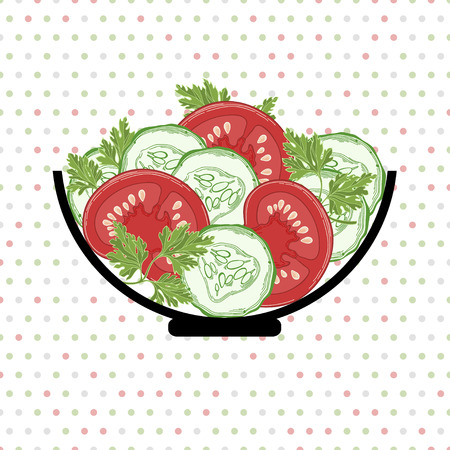 cucumber salad: Bol con una ensalada de tomate, pepino y perejil sobre un fondo de lunares Vector ilustraci�n