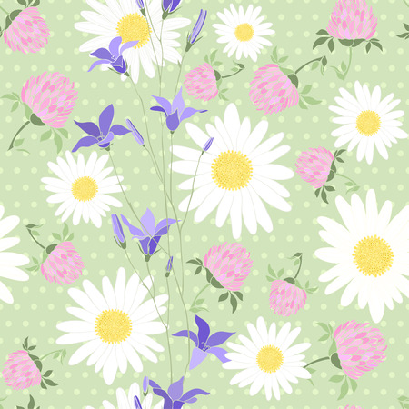Seamless pattern with camomiles, bluebells and clover on background polka dots Illustration